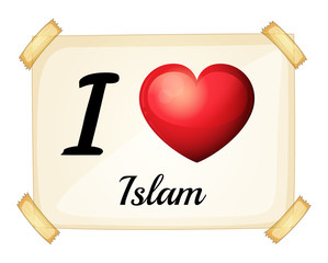 A flashcard showing the love of Islam