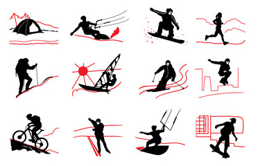 set of active sport icons