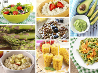 Healthy dishes in collage