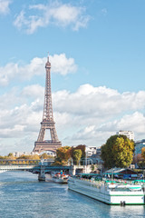 Wall Murals Paris Paris, the Eiffel Tower and the Seine River in the fall on a sun