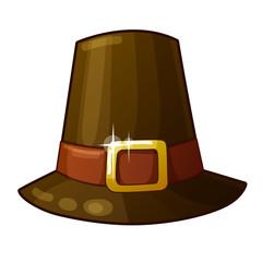 Detailed Icon. Pilgrim Hat isolated on white background