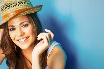 beautiful model portrait on blue background