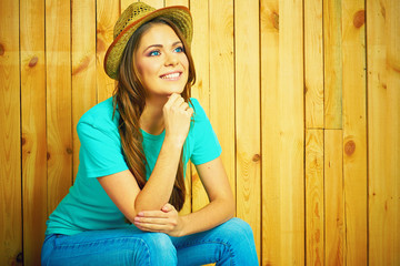 Happy young woman portrait in American country style