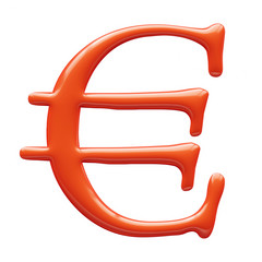 3D red Euro sign isolated on white 3D illustration.