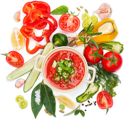 Wall Mural - Bowl of fresh tomato soup gazpacho and vegetables