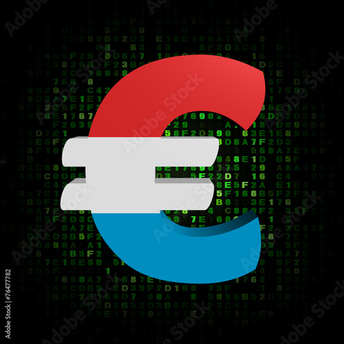 Euro Symbol With Luxembourg Flag On Hex Code Illustration Stock