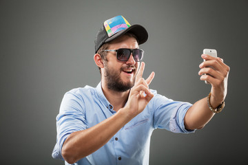 handsome selfie man