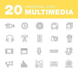 Media or multimedia icon set