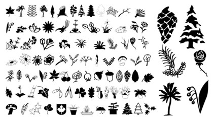 Collection of icons of plants