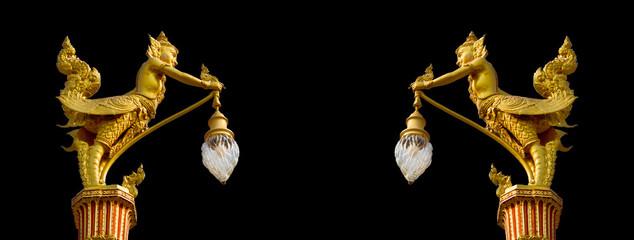 Fototapeta two male bird with human head hand hold street lamp decorative r obraz