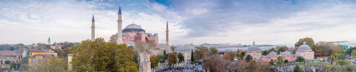 Panoramic aerial view of Hagia Sophia in Istanbul