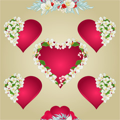 Seamless texture heart with jasmine gold vector