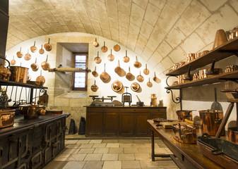 Chenonceaux castle interior, view of kitchen