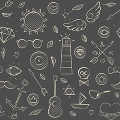 Hand drawn hipster seamless pattern over brown