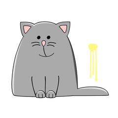cute grey cat sitting near the yellow pee spot on the wall