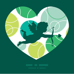 Vector abstract green circles shooting cupid silhouette frame