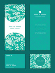 Vector emerald green plants vertical frame pattern invitation