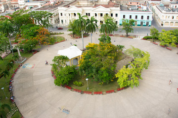 Aerial View of the Leoncio Vidal Plaza in Santa Clara,Cuba