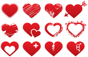 Heart icons red set
