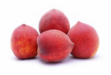 fresh peaches on white background