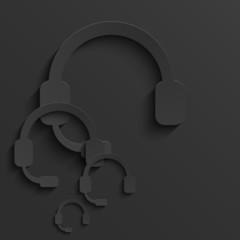 Vector modern headphones light background.