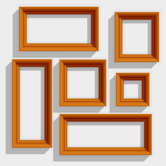 Empty Wooden Brown Picture Frames Isolated on the White