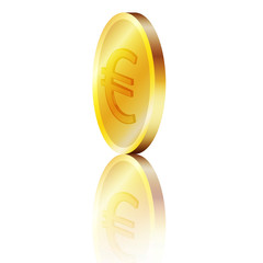 Moneta d'oro euro con riflesso
