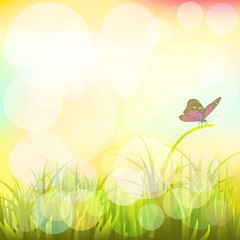Landscape with butterflies. Vector. EPS 10. 2