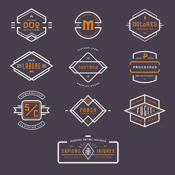 collection of 10 stylish line insignias/badges