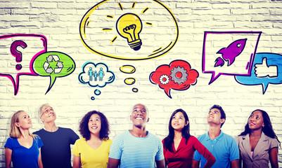 Diversity Casual People Ideas Aspiration Social Media Concept