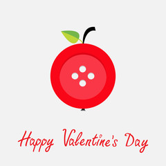 Red button apple Flat design Valentines day card