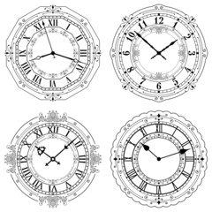 Set of different decorated clock faces. Editable Clock.