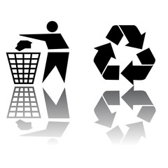 Recycling vector icon.