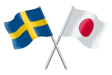 Flags : Sweden and Japan