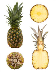 Whole pineapple and cross section