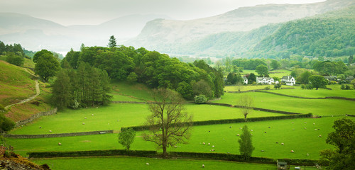 English countryside in spring, Lake District, Cumbria, UK