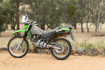 Motorbike on Dry Farmland