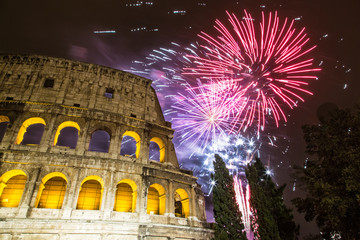 Fireworks for new year near the Colosseum - Rome