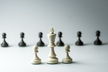 Chess figure, business concept strategy, leadership, team and success