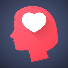 Female head silhouette icon with a heart