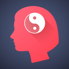 Female head silhouette icon with a ying yang