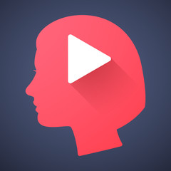Female head silhouette icon with a play sign