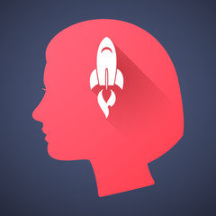 Female head silhouette icon with a rocket