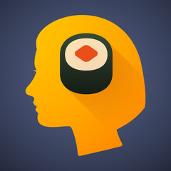 Female head silhouette icon with a sushi