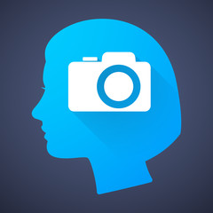 Female head silhouette icon with a photo camera