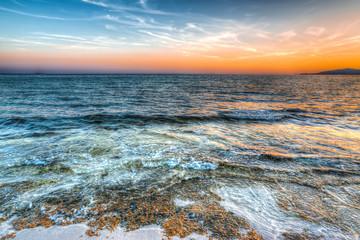 orange sunset in Maria Pia beach