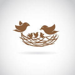 Vector image of an birds family in love