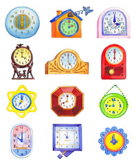 Different clocks isolated on white backdrop