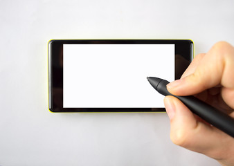 digital pen on the smartphone