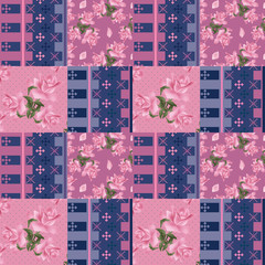 Abstract elegance seamless patchwork pattern with rose flowers b